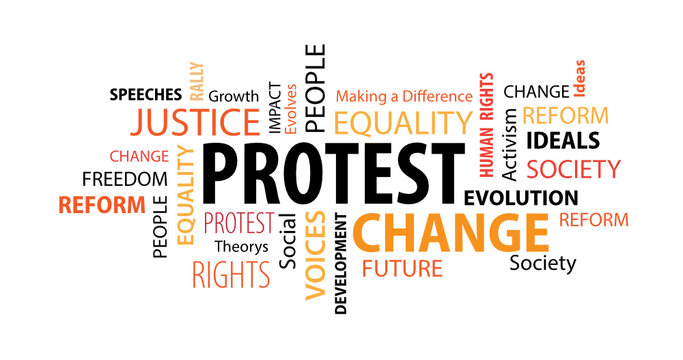Protest Word  Cloud on a White Background