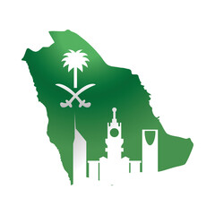saudi arabia national day, green flag map and city gradient style icon