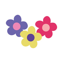 Wall Mural - cartoon flowers decoration isolated design icon