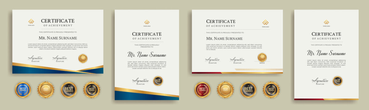 Diploma certificate border template set with badges for award, business, and education
