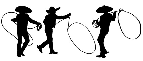 Silhouette of Mexican Cowboys with lasso rope doing tricks