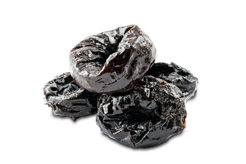 Fototapete - Pile of dried pitted prunes on white background.