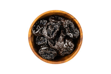 Fototapete - Top view of dried pitted prunes in wooden bowl on white background.