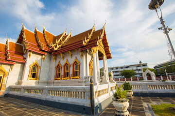 Wall Mural - Wat Benchamabophit temple of Marble Temple blue sky with cloud,