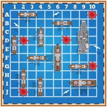 Sea battle. Board game. Vector illustration.