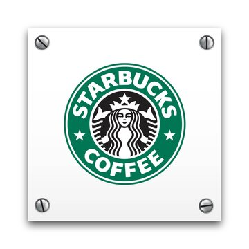 Illustration of Starbucks Coffee signage logo isolated on a white plate. Food and Drinks concept. Illustrative editorial use.