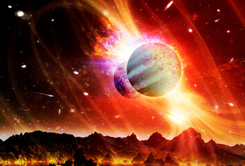 Fantasy landscape of alien planet. Sci-fi wallpaper. Elements of this image furnished by NASA.