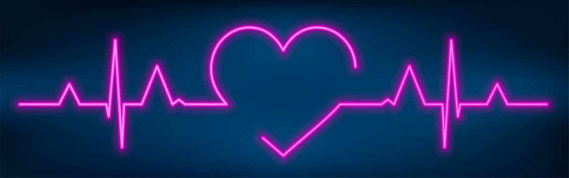 Neon heart beat with heart shape. Healthy electrocardiogram or ECG. One pulse line. Glow violet health cardiogram infographic. Glowing healthcare rate. Medical vector illustration.