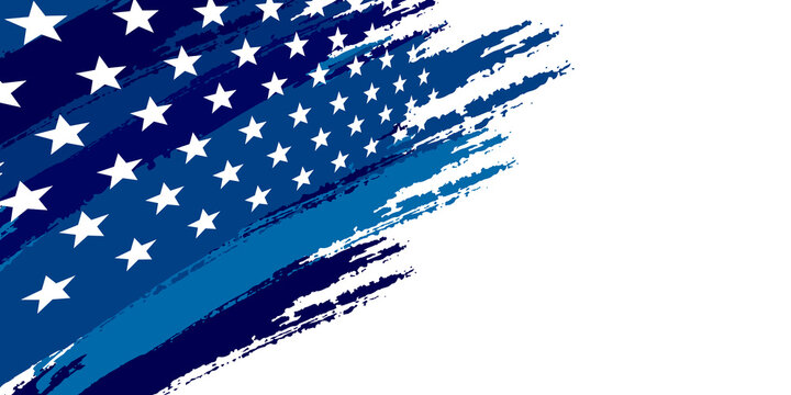 Blue abstract background with brushes flag and stars