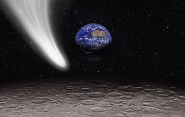 Wall Mural - Neowise Comet on the space view from moon planet earth in the background