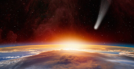 Wall Mural - Neowise Comet on the space view from space planet earth in the background