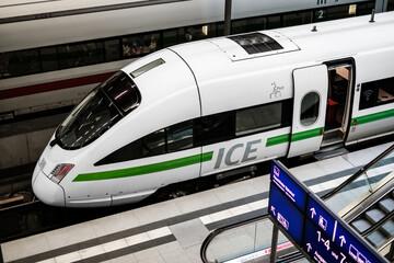Green Energy ICE train locomotive at trainstatipon platform ( Berlin Hauptbahnhof)