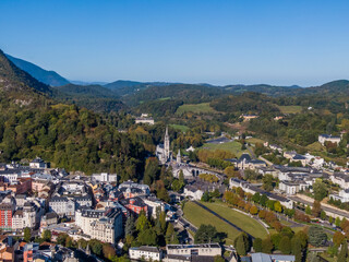 Aerial view of the Lourdes and Sanctuary of Our Lady, France