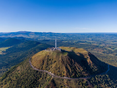 Aerial panorama of Puy de Dome volcano in France