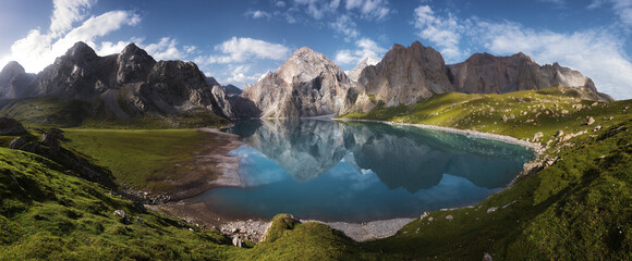 Panoramic pictures of the beautiful natural scenery, snow-capped mountains and lakes of the Tianshan Mountains in Xinjiang, China.