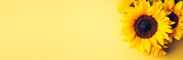 Wall Murals Floral Yellow Sunflower Bouquet on bright Yellow Background, Autumn Concept, Top View, Space for Text, banner size