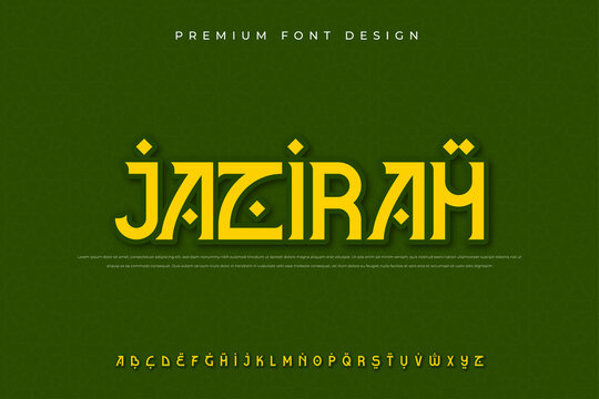 arabic alphabet font with modern and abstract style use for logo and brand