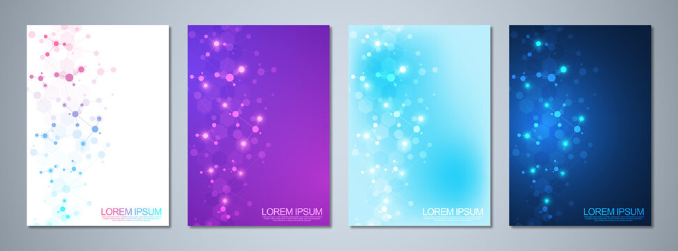 Set of template brochures or cover design, book, flyer, with molecules background and neural network. Abstract geometric background of connected lines and dots. Science and technology concept.