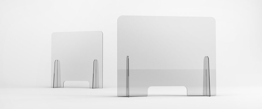 Sneeze guards, social distancing barriers and shields. Transparent Acrylic Display.