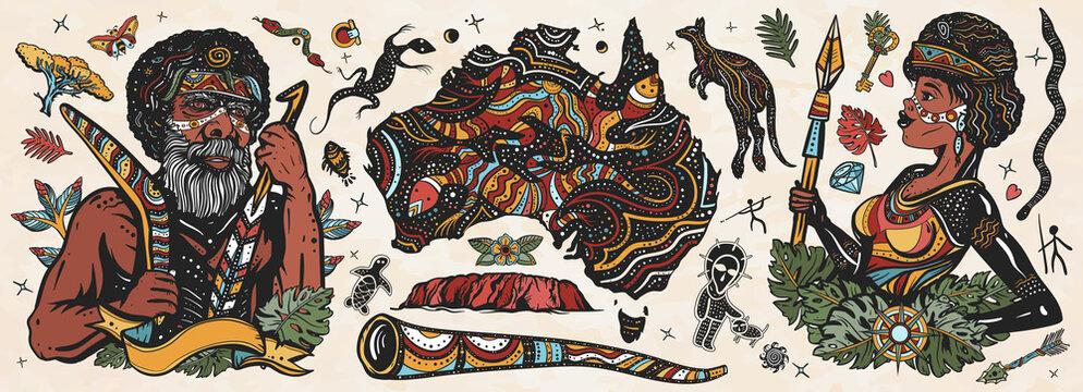 Australia. Old school tattoo vector collection. Ethnic Australian woman in traditional costume. Aboriginal tribes bushmen. Boomerang,  kangaroo, didgeridoo, map. Tradition, people, culture