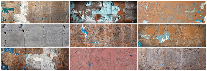 Set of rough wall textures with pieces of glue and stucco in place of old tile. Collection of panoramic backgrounds for design.