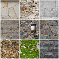 Set of stone wall textures. Old weathered rough masonry surfaces. Backgrounds collection for design.