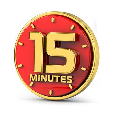 Golden 15 minutes on red background. 15 min gold. 3d illustration.
