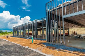 Metal Framework For New Commercial Building Under Construction