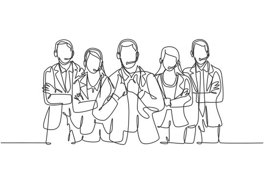 One single line drawing group of male and female customer service team members pose neatly in a straight line. Call center service excellence concept continuous line draw design vector illustration