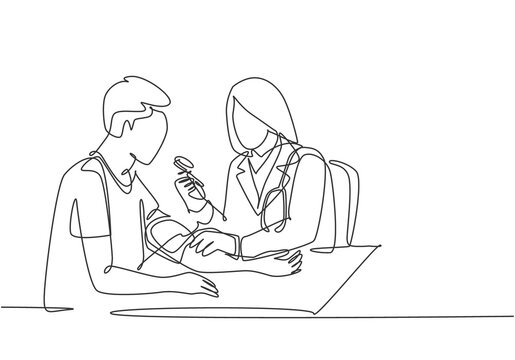 One continuous single line drawing of young female doctor check the patient's blood pressure and pulse rate at hospital. Medical check up healthcare concept single line draw design vector illustration