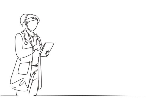 Single continuous line drawing of young female doctor standing and holding clipboard to check sick patient condition at hospital. Medical health care concept one line draw design vector illustration