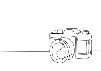 Fototapeta One single line drawing of old retro analog slr camera with telephoto lens. Vintage classic photography equipment concept continuous line draw graphic design vector illustration obraz