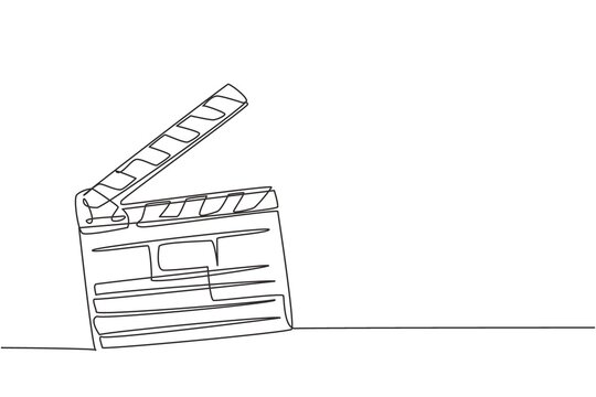 One single line drawing of retro old classic movie board clapper. Vintage film scene taker item concept continuous line draw design graphic vector illustration