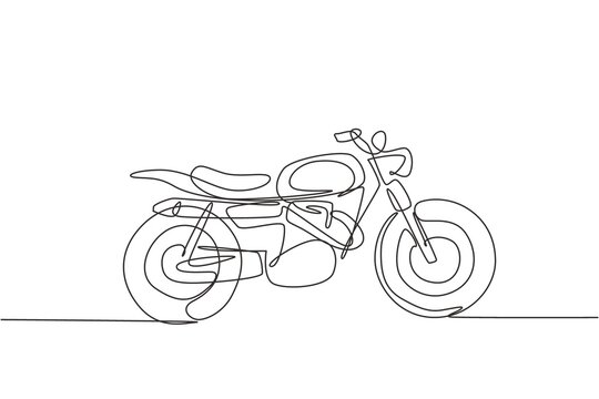 One continuous line drawing of retro old vintage motorcycle icon. Classic motorbike transportation concept single line graphic draw design vector illustration