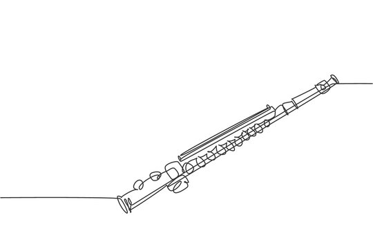 One continuous line drawing of classical flute. Wind music instruments concept. Modern single line draw design vector graphic illustration
