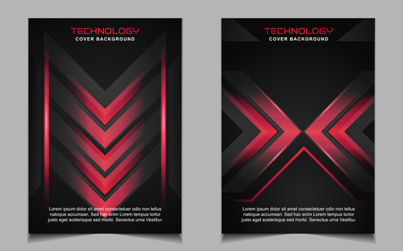 Abstract futuristic cover a4 background template with red technology style concept on black shapes. Modern layout vector design can use banner gaming, presentation business sport, automotive event