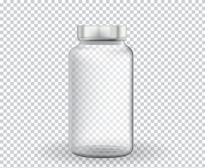 Empty ampoule for medicine, vaccine on transparent background. Vector Illustration