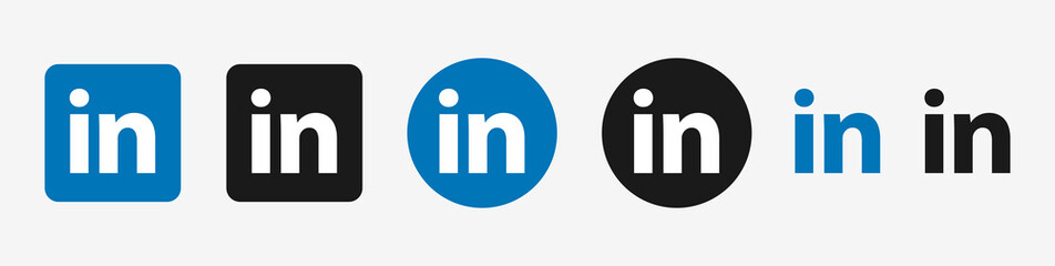Linkedin logo icon set vector. Isolated linkedIn buttons on white background. Social media black and blue colors. Editorial illustration.