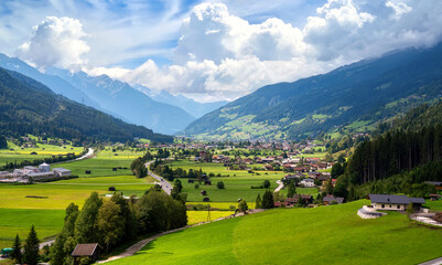View from the cable car over the Mittersill-Hollersbach and the