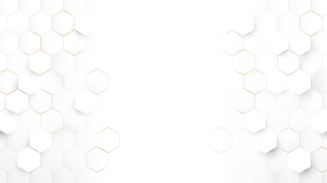 Abstract Technology, Futuristic Digital Hi Tech Concept. Abstract White and Gold Hexagonal Background. Luxury White Pattern. Vector Illustration
