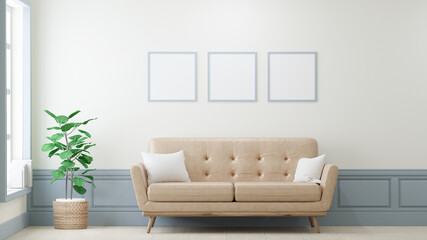 Square poster mockup with Three  frames on empty Light yellow in living room interior, Leather sofa, 3D Rendering