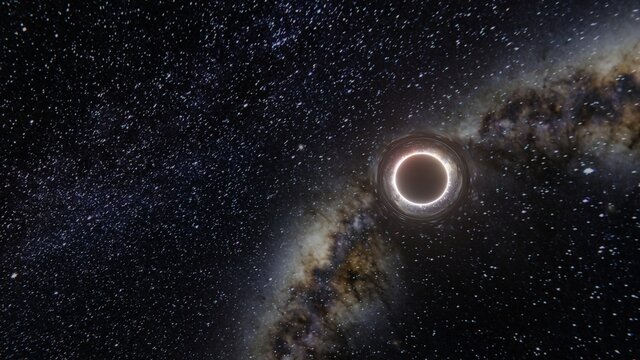 Black hole realistic illustration. 8k resolution space wallpaper.