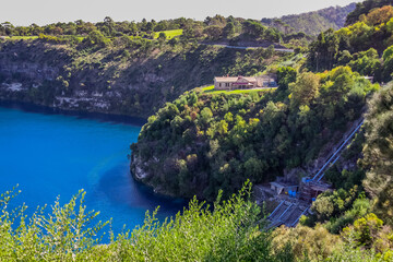 Blue Lake, one of four crater lakes on Mount Gambier maar, in the Limestone Coastal region of South Australia.