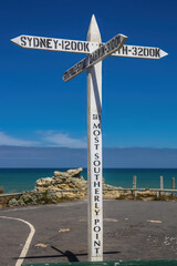 Signpost at the most southernly point at Port MacDonnell near Mount Gambier in South Australia.