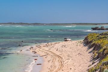 View of the sandy sea shore near Mt Gambier, South Australia.