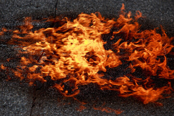 Fire on roofing material