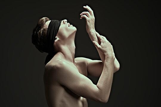 male model in blindfold