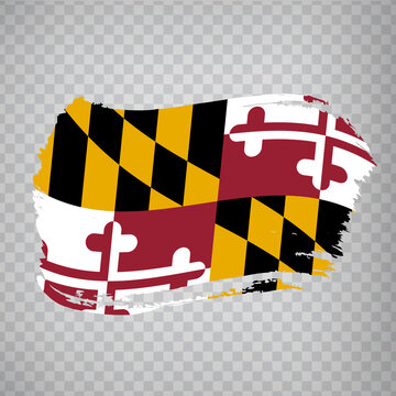 Flag of  Maryland from brush strokes. United States of America.  Flag Maryland on transparent background for your web site design, logo, app, UI. Stock vector. Vector illustration EPS10.