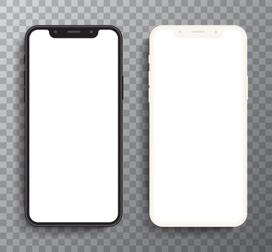 Realistic white and black smartphone The shape of a modern mobile phone Designed to have a thin edge. mobile phone, blank screen