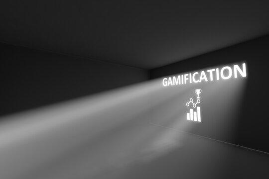 GAMIFICATION rays volume light concept 3d illustration
